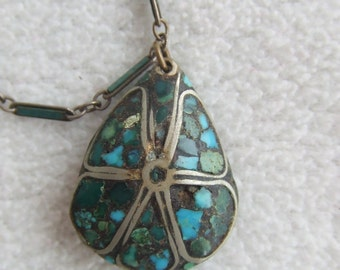 Art Nouveau Deco Turquoise Silver Drop Pendant Choker Necklace Vintage