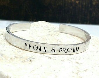 Vegan and proud art deco font bracelet - adjustable - handstamped - aluminium, copper, brass or sterling silver