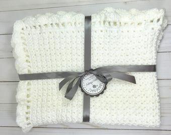 Crochet baby blanket, baby blanket, white  baby blanket, baby boy blanket, baby girl blanket