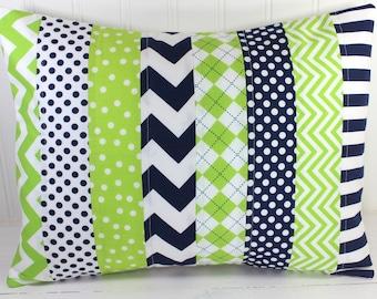 Nursery Decor, Pillow Cover, Baby Boy, Decorative Pillows, Baby Bedding, 12x16, Throw Pillows, Cushion Cover, Lime, Green, Navy, Blue, White