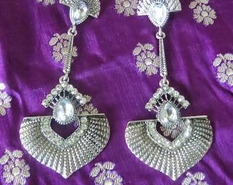 Statement Earrings, drop earrings, vintage inspired, silvertone with crystal embellishments