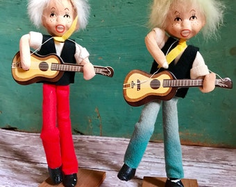 Vintage Guitar Players Spun Cotton Head Doll Made in Japan