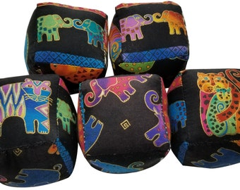 Soft Baby Blocks in Jungle Prints from Laurel Burch in Bright Colors (set of 5 blocks)