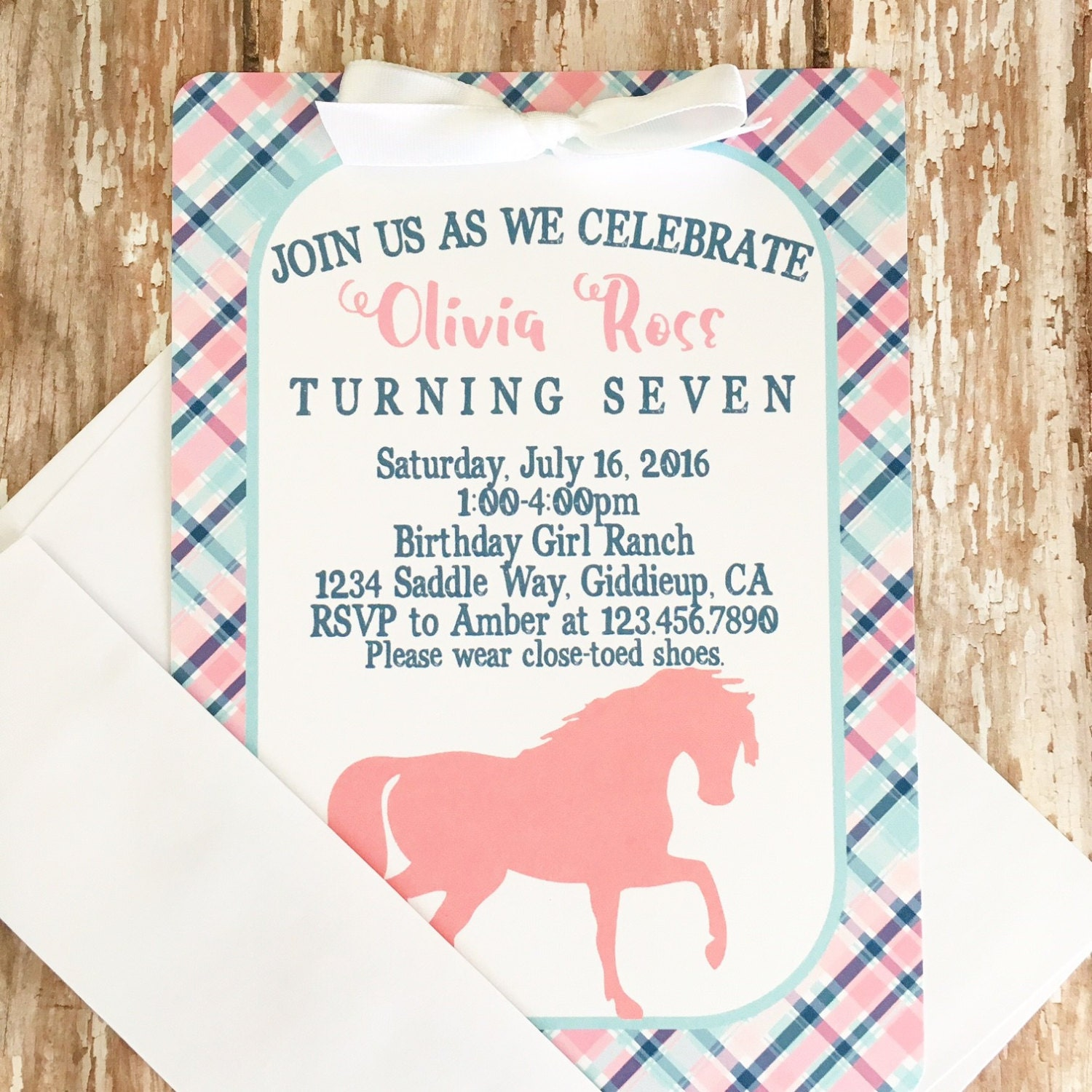 12 horse birthday invitations with envelopes pink and blue