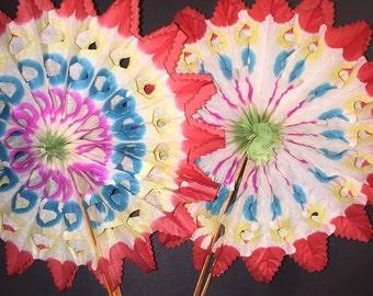 5 Wonderful Vintage 1950s Paper Fan Decorations 15cm Made in Japan
