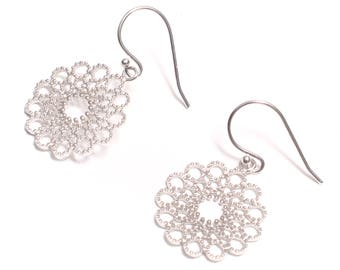 fancy mandala earrings 925 sterling silver