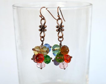 Crystals cluster earrings with copper components Colorful crystal earrings Bright cluster earrings on copper wire Made in Israel art E1253