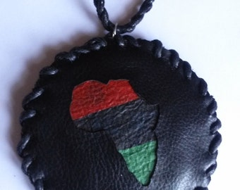 1990s Leather Africa Medallion with Black Handbraided Necklace - Afro American Flag - Pan African Flag - RBG