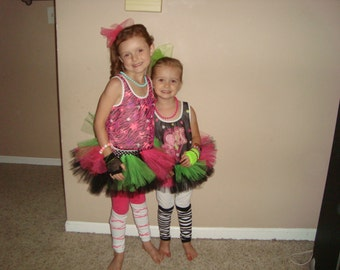 80s themed rock star tutu, can do custom colors, comes with extra tulle piece for hair!