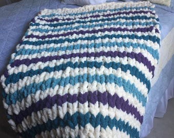 Chunky knit soft Chenille yarn blanket