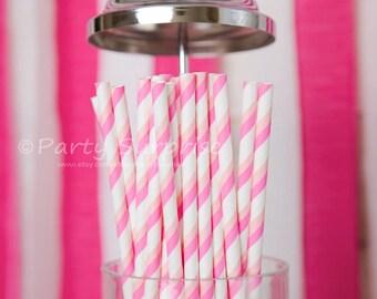 Pink Straws, Baby shower straws, striped pink straws, retro pink stripe straws, vintage style straws, wedding girl birthday sweet sixteen