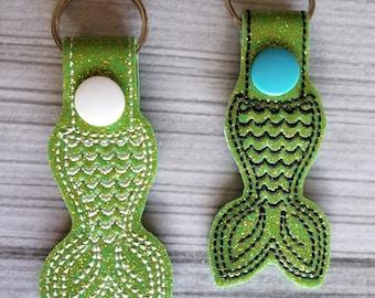Lime Green Sparkle Mermaid Tail Keychain