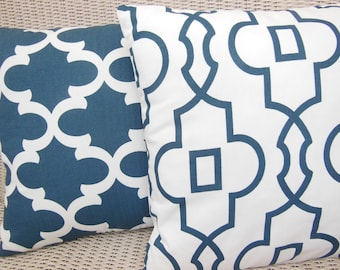 Navy Throw Pillow COVERS Navy Blue Decorative Cushion Moroccan Trellis Couch Sofa Pillow Navy Bedding Cottage Pillow Navy Home Decor Pillow