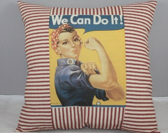 "Pillow - Rosie the Riveter 15""x15"" inches Handmade Pillow in Red and White Ticking Fabric"