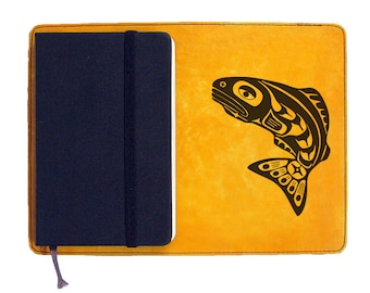 Moleskine Leather Notebook Cover [Large & Pocket Sizes][Customizable][Free Personalization] - Coy Fish