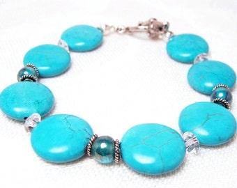 Turquoise Aquamarine Bracelet with Austrian Crystals, Semi-precious Gemstones