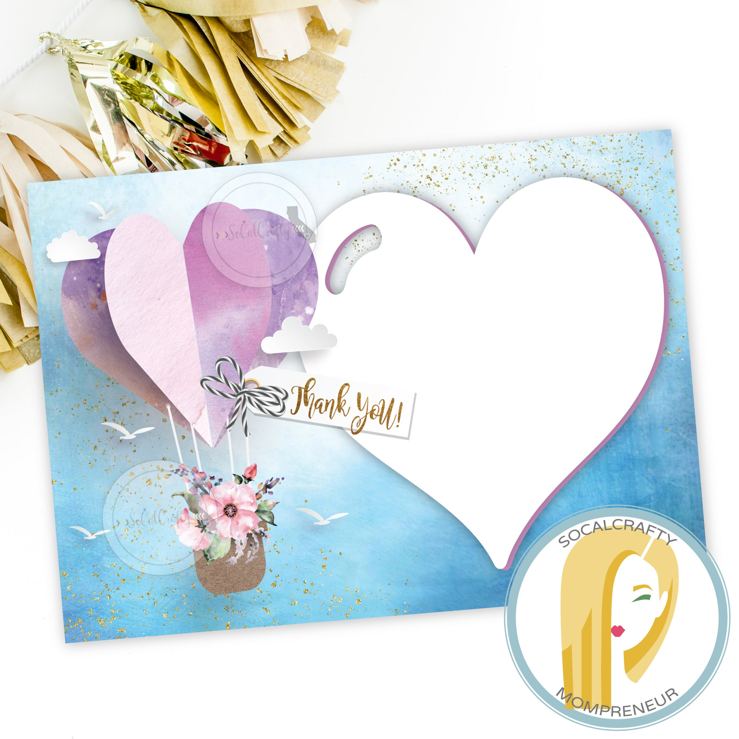 Hot Air Balloon Thank You Card Baby Shower Thank You Card