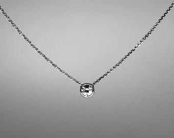 Diamond Necklace, Bezel Set, .10 ct Solitaire, 14k, 18k Gold