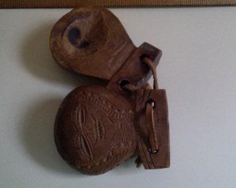 Vintage Castanets Primitive Hand Carved Natural Wood
