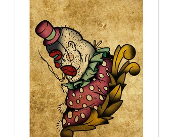 Paul the Drunk, Clown, Neo-Traditional Tattoo Flash, Carnival Sideshow, Old School, Art Print 12x16