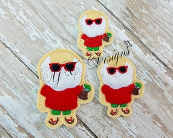 Christmas in July Feltie Vacation Santa Feltie Embroidery File