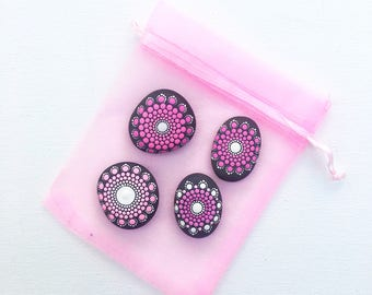 Pink mandala stones: set of four