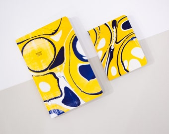 Yellow & Blue Hand-Marbled Notebook