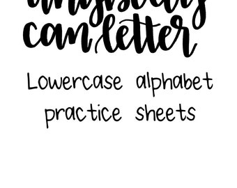 Anybody Can Letter Lowercase Alphabet Practice Sheets Instant Digital Download Printable Handlettering Modern Calligraphy