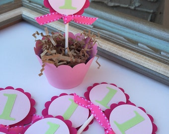 One Year old Birthday Party Cupcake Toppers Glittering Gold Age Number 1 Girl Party Pink Flower Petal Decor Silver Bow