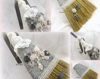 Wedding Lace Broom Ivory Gray Blush Pink Elegant Vintage Style