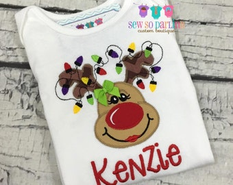 Baby Girl Christmas Outfit - Reindeer Baby Christmas Outfit - Toddler Christmas Shirt -  Girl Reindeer Shirt - Baby Girl Christmas outfit