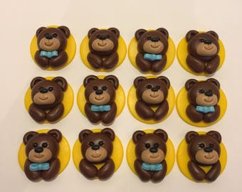 Teddy bear cupcake toppers (Baby Shower)