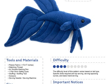 Betta Fish Sewing Pattern, PDF Pattern, Plushie Sewing Pattern