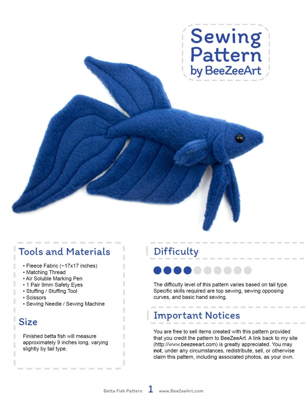 Betta Fish Sewing Pattern PDF Pattern Plushie Sewing Pattern