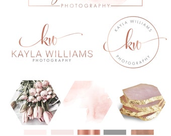 Rose Gold, Watercolor Logo, Photography Logo, Branding Kit, Wedding Photographer, Photography Logo, Logo, Logo Design, Business Card, 094