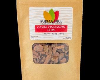 Cassia Cinnamon Chips in Bag, 3.5oz.