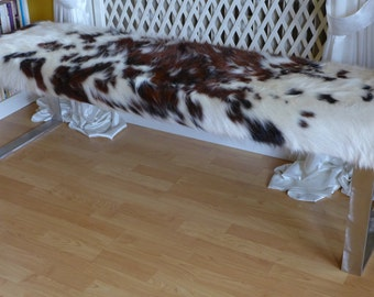 cowhide bench, long seating bench