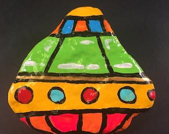 UFO hand painted stone pop art fashion space buddha home decor alien yellow