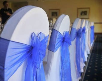 50x Royal Blue Chair Sashes Bow Cover Wedding Engagement Event Party Reception Ceremony Bouquet 21st Birthday Anniversary Venue Decoration