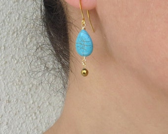 Turquoise gold earrings, Hematite earrings, Turquoise drop earrings