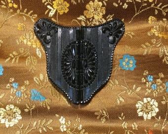 Edwardian Jet Black Obsidian Mourning Belt Buckle