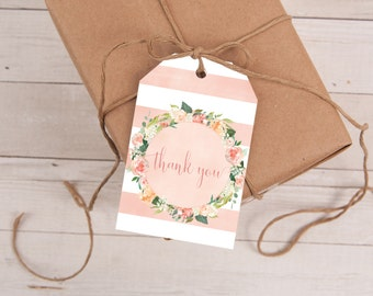 Peach Favor Tags, Bridal Shower, Wedding Favor Tag, Baby Shower Thank You Tag, Gift Tags, Thank You Tags, Printable, INSTANT DOWNLOAD