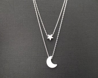 Double layered, Moon, Star, Gold, Silver, Necklace, Double, Layering, Necklace, Birthday, Friendship, Christmas, New year, Gift, Jewelry