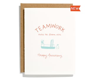 Team Work Anniversary - Letterpress Love Card - CL273
