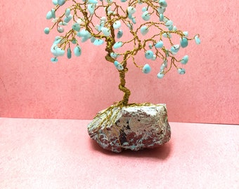 Amazonite Gemstone Tree, Wire Tree Sculpture, Beaded Trees, Spiritual Gifts