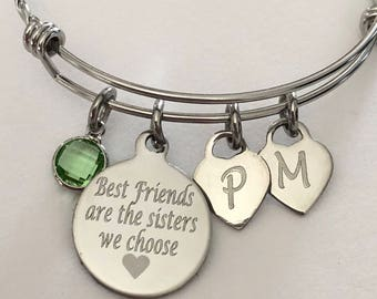 Best Friend bracelet-Best Friends are the sisters we choose engraved bracelet with initials