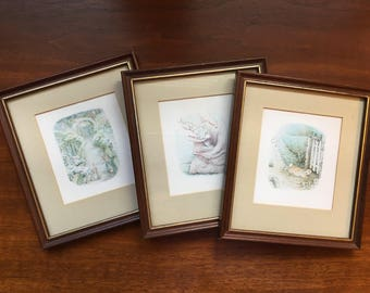 Vintage Framed Beatrix Potter Illustrations (set of 3) Benjamin Bunny, The Tale of the Flopsy Bunnies and Peter Rabbit