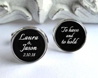 Personalized Cufflinks, Groom Cufflinks, Wedding Keepsake Gift