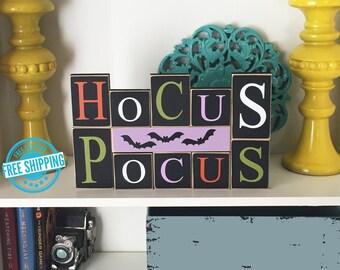 Hocus Pocus Blocks- Halloween Decor, Halloween Blocks, Halloween Sign, Fall Decor, Colorful Halloween, Halloween Decorations