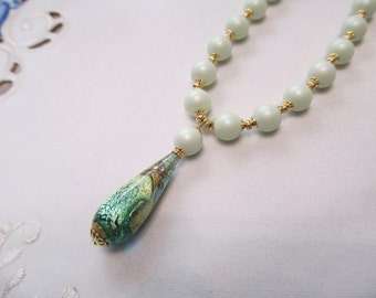 Venetian Bead Pendant Necklace in Vibrant Shades of Green and Silver